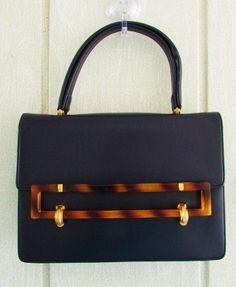 Simply smart and pretty. Vintage 50s navy kelly satchel purse bag tortoise by catlady531 on Etsy
