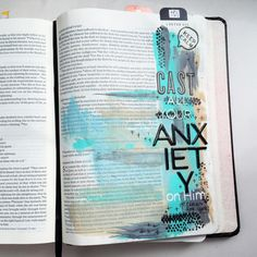 Cast all your anxiety on Him. Journaling Bible with paint and alphas.