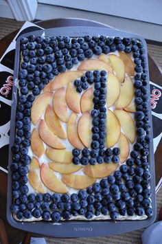 "Uno Fruit Pizza as the ""cake"", 1st Birthday cake, First Birthday Cake"