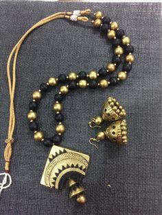 Fancy Jewellery, Funky Jewelry, Bead Jewellery, Fabric Jewelry, Terracotta Jewellery Making, Terracotta Jewellery Designs, Terracotta Earrings, Polymer Clay Necklace, Polymer Clay Pendant