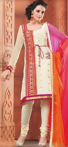 $53.07 Cream Cotton Resham Work Churidar Salwar Kameez 26571