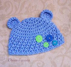 Crocheted Baby Boy Teddy Bear Hat, Blue Newborn Teddy Bear Cap, Photo Prop Baby Bear Beanie, Baby Boy Gift by dreamfancies on Etsy