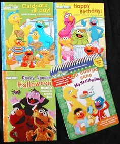 Set of 4 Sesame Street Coloring & Activity Books - Birthday. Halloween, Healthy Body & Outdoors All Day by Bendon Publishing. $17.95. And theres a special spiral bound wipe-off bilingual workbook with crayon. Teaches about body parts in both Spanish and English; see last 2 pictures. Set of 4 coloring & activity books from Sesame Street. 3 coloring books are 76 pages EACH