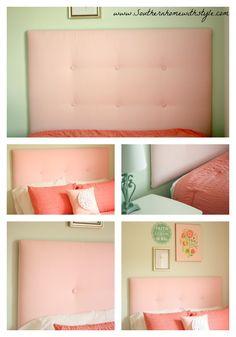 DIY Girls Room Upholstered Headboard under $100.00. Easy and full tutorial