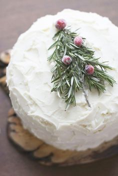 Christmas Cake with rosemary tree & sugared cranberries