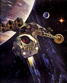 "Space Fiction, Retro-Future, Starship, 1968 ... 2001: A Space Odyssey, ""Discovery"", art by Robert McCall"