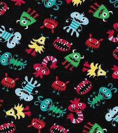 Novelty Cotton Fabric Little Monster's Tossed