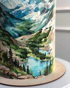 "Daily Baking Ideas 🍰 on Instagram: ""Do you like painted cakes 😍🎨 Rate 1 to 💯 By @_mac_baker . . . . . . . . . #cakeart #art . #paintedcake #elegance #buttercream…"" Art Birthday Cake, Pretty Birthday Cakes, Birthday Cakes For Men, Nutella Chocolate Cake, Nature Cake, Mountain Cake, Airbrush Cake, Watercolor Cake, Painted Cakes"