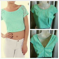 LOVELY and Lacey teal green top NEW Lovely and Lacey teal green top! Zips up in the back. Slip this top over your favorite tube top dress or pair it with high waisted pants. However you choose to wear it, you are sure to get compliments with this lovely teal color!! New, never worn.  Teal blue lacey material with nude lining. Size Large 100% Polyester (Picture of model is an example, not actual top) Tops