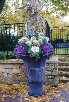Detroit Garden Works l Deborah Silver, fall container, ornamentals, tall container