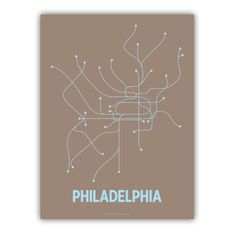 Philadelphia Line Poster Brown/Light Blue by lineposters on Etsy, $20.00