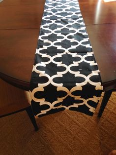 Black and white table runner by EllaBellaFabric on Etsy