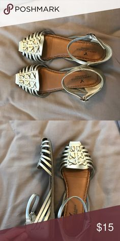 American Eagle Gold Sandals Used but still in great condition. Very comfortable! American Eagle Outfitters Shoes Sandals