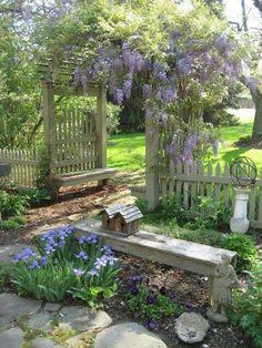 Shabby chic lovely arbor and garden