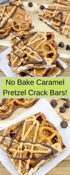 No Bake Caramel Pretzel Crack Bars! No Bake Caramel Pretzel Crack Bars! Pretzel Desserts, Köstliche Desserts, Delicious Desserts, Dessert Recipes, Desserts Caramel, Pretzel Snacks, Easy No Bake Desserts, Health Desserts, Salad Recipes