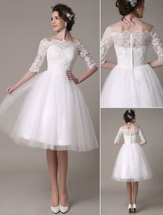 Lace Wedding Dress A-Line Knee Length Waist Rhinestone Bridal Dress