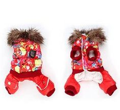 Red winter jacket Starfish Print Press Stud Button Pet Dog Clothes Jumpsuit Down Coat XXS
