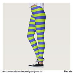 Lime Green and Blue Stripes Leggings #leggings #yogapants #workout #fitness #pilates #spandex #fashion