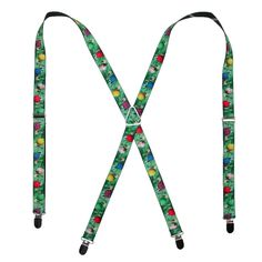 You'll be a big hit at your next holiday party, wearing these Christmas suspenders.  They easily adjust to your preferred length and clip on to your pants for a comfortable wear.