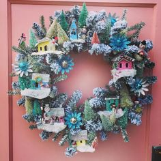 Remember this fun wreath I made and posted about earlier this fall? I had many requests for it and suggestions how to sell it. I popped… Noel Christmas, Retro Christmas, Christmas Projects, All Things Christmas, Christmas Ornaments, Christmas Mantles, Christmas Glitter, Victorian Christmas, White Christmas