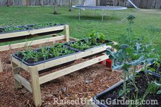 Raised Gardens - this could be a great way to start seeds indoors right in the tray and then bring them out after the threat of frost - brilliant!!!!