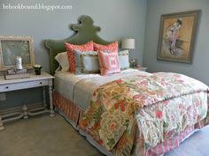 Love coral, green, taupe and ivory. Want to find this comforter. Like the linens, not so much on the rest.