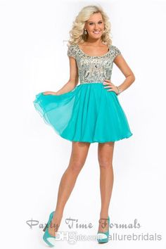 2014 Party Dresses!!!A-line Square Neck Cap Sleeve Cocktail Dresses Decorated With Rhinestone Beads Chiffon Mini Shining Short Prom Dresses