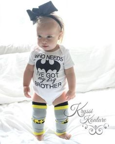 Who Needs BatMan I've got my Big Brother © Bat Man Shirt – Kids Bat Man Suit – Big Brother – Bat Man Inspired – Superhero Shirt – Baby Shirt My Baby Girl, Baby Sister, Baby Girl Stuff, Big Brother Little Sister, Baby Girl Princess, The Babys, Baby Outfits, Casual Outfits, Emo Outfits