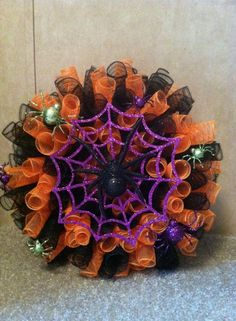 Spiral deco mesh wreath