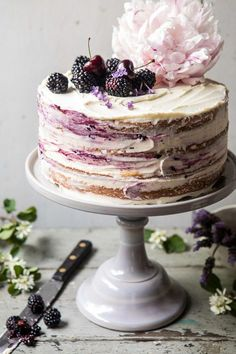 Blackberry Lavender Naked Cake with White Chocolate Buttercream. Blackberry Lavender Naked Cake with White Chocolate Buttercream.Blackberry Lavender Naked Cake with White Chocolate Buttercream. Four layers Food Cakes, Cupcake Cakes, Cake Cookies, Just Desserts, Delicious Desserts, Yummy Food, Health Desserts, Nake Cake, Bolos Naked Cake