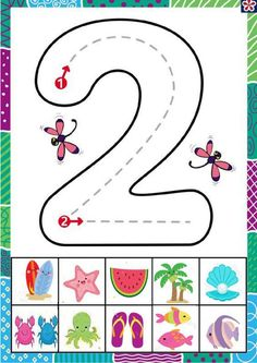 Número 2 - Ficha interactiva Interactive Activities, Writing Activities, English Help, School Games, Pre Writing, Toddler Learning, Home Schooling, Preschool Activities, Homeschool