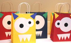 Monster goody bags! These will help if you only buy solid colored bags for gifts. Decorate like this for kids or leave plain for adults. Can even pre-cut pieces to have ready when necessay. Cute craft idea for the kids to do for their friends.