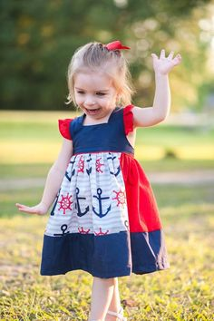 Square neck girls anchor dress in red and navy blue **other color options available (see pictures)** by MyCutiePatootieShop on Etsy