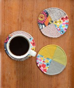 Quilted Circle Coaster tutorial - Craftfoxes