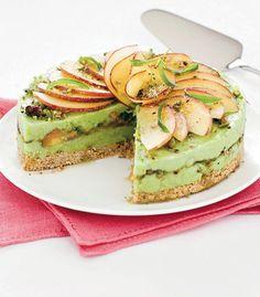 Pistachio Ice Cream and Peaches Cake Recipe  #Mint #Mint_Green #Pistachio #Ice_Cream #Peaches #Cake #Recipes