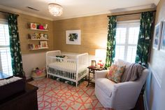Tropical and Vibrant Nursery - love the grasscloth wallpaper + vibrant rug!