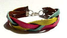 Neon Braided Mint Hot Pink and Yellow Bracelet by Beatniq on Etsy, $17.50