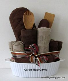 Kitchen towel cake in microwaveable dish.