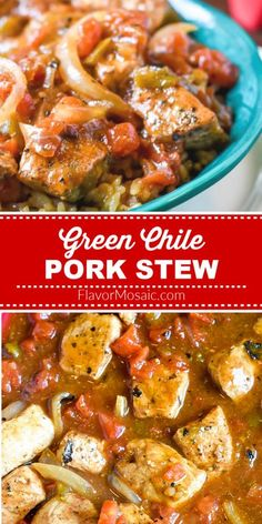 Roasted Hatch Green Chile Pork Stew is made with freshly roasted Hatch green chiles and pork, onions and tomatoes to spice up dinnertime!  #PorkStew #GreenChilePorkStew #HatchGreenChilies #FlavorMosaic Best Chili Recipe, Chili Recipes, Drink Recipes, Easy Homemade Chili, Cheesy Potato Soup, Pork Stew, Bowl Of Soup, Soup And Sandwich, Latest Recipe
