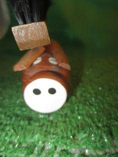 vintage Mod Teak wood Pig clothes brush Denmark mid by kookykitsch