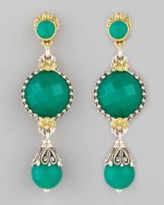 Green Onyx Teardrop Earrings by Konstantino at Neiman Marcus.