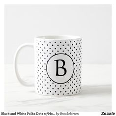 Shop Black and White Polka Dots w/Monogram Coffee Mug created by Brookelorren. Grandpa Gifts, Sister Gifts, Initial Coffee Mugs, Mug Printing, Great Gifts For Mom, Boyfriend Gifts, Photo Mugs, Keep It Cleaner, Initials
