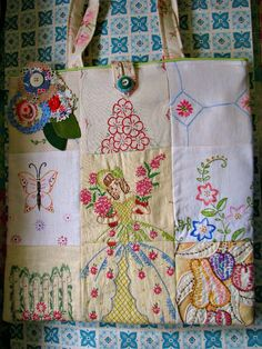 Tote from vintage embroidery- Like the vintage patchwork idea Embroidery Designs, Embroidery Transfers, Vintage Embroidery, Hand Embroidery, Embroidery Sampler, Machine Embroidery, Embroidery Books, Beginner Embroidery, Mexican Embroidery