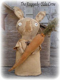 Primitive Stump Bunny with Carrot Spring Easter ~jillykbee~ #NaivePrimitive