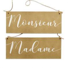 Pancartes pour chaises kraft Madame / Monsieur