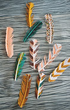 pretty painted feathers
