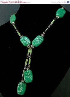 Vintage Art Deco Jade Green Czech Glass Necklace by jujubee1, $52.20