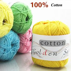 100% Cotton Knitting Yarn Crochet Yarn for Knitting Soft Smooth Natural Anti-Pilling 20 Colors Free Shipping