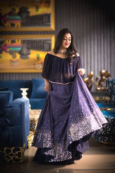 Cocktail Outfits - Navy Blue Cape with Blue Lehenga | WedMeGood | Blue and Silver Embroidered Lehenga with a Sheer Blue Cape by Ridhi Mehra #wedmegood #redcarpetbride #indianwedding #lehenga #blue #silver #grey #cape #ridhimehra
