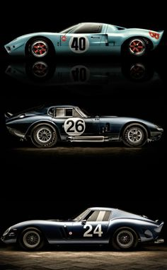 "doyoulikevintage: "" GT40 and Shelby Cobra coupé and Ferrari 250 GTO """